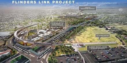 Flinders Link Rail Extension courtesy of DPTI SA